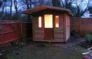 Garden Office Room Small Case Study Maidstone Outside Night View 02